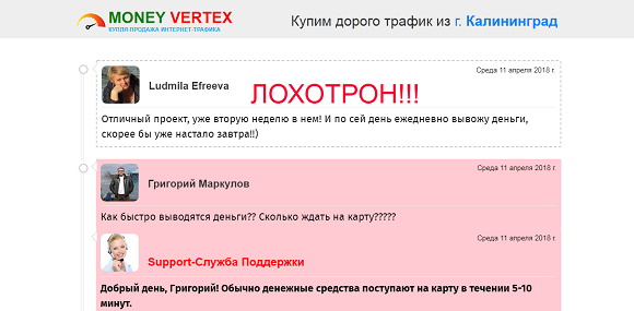 MONEY VERTEX. Ваш доход от 30 000 рублей в день на продаже интернет трафика-отзывы о лохотроне