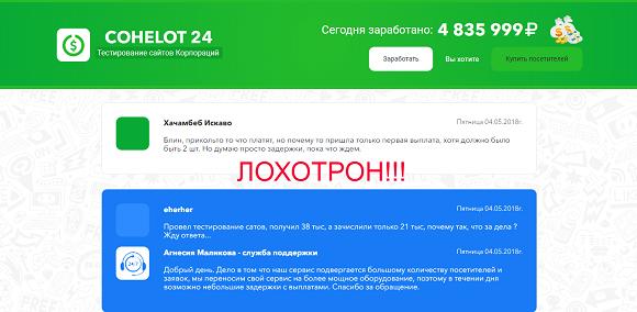 Cohelot 24 тестирование сайтов корпораций-отзывы о лохотроне