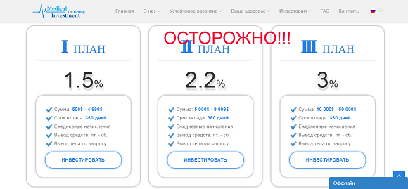 Medical On Group Investment - отзывы и обзор