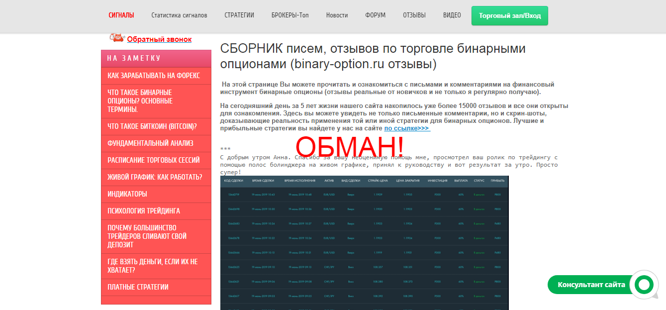 Binary-option.ru и Анна Андреевна - отзывы и обзор сайта
