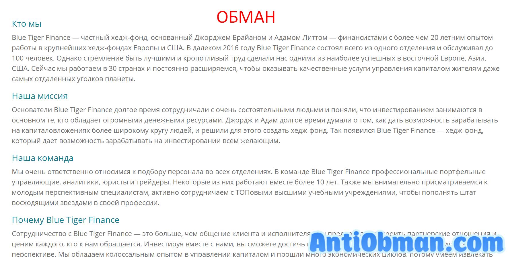 Blue Tiger Finance (tigeronefinance.com) - отзывы и обзор брокера