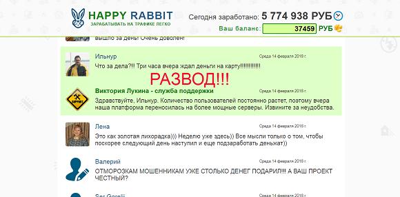Счастливый кролик, заработок на домашнем интернете. Отзывы о HAPPY RABBIT